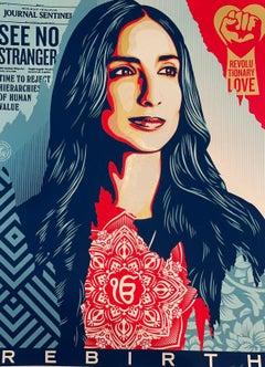 "Valarie Kaur & Shepard Fairey Silkscreen Print Obey Giant ""Rebirth"" Civil Rights"