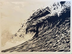 Wave Of Distress Shepard Fairey Print Obey Giant World Water Day Sephia Gold Pop