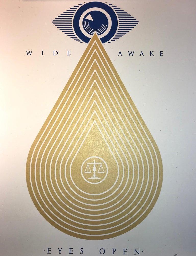 TITLE: Wide Awakes Campaign 2020 Shepard Fairey Stay Woke Print Street Art Dump Trump YEAR: 2020 CLASSIFICATION: Limited edition MEDIUM TYPE: Print MEDIUM/MATERIALS:  Silkscreen on Fine Art paper with Gold Metallic Inks  CATEGORIES: Silkscreen /