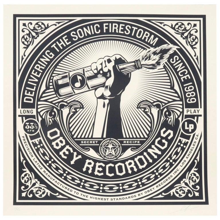 "Shepard Fairey Serigraph Large Format Artist Signed ""Sonic Firestorm"" For Sale"