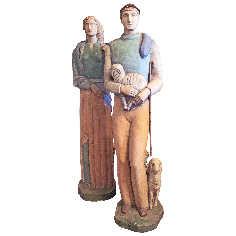 """Shepherd and Shepherdess,"" Monumental Art Deco Sculptures, Probably by De Vegh"