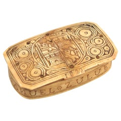 Shepherd Box, Carved Horn or Antler, Spain, 1822