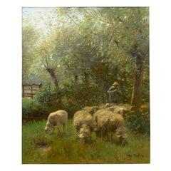 Shepherd W/ Sheep Barbizon Oil Painting by Francois Ter Meulen