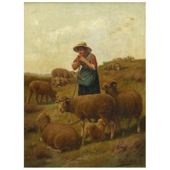"""Shepherdess and Her Sheep"" Antique Oil Painting Signed Franz de Beul, 19th C"