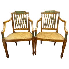 Sheraton English Pair of armchairs, Painted Satinwood  Inlaid Wood, Meashseat