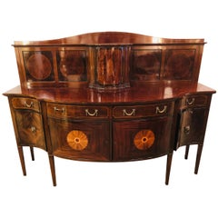 Sheraton Flame Mahogany 19th Century Sideboard Buffet with Inlaid Backsplash Top