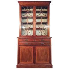 Sheraton Mahogany Bureau Bookcase with front Desk