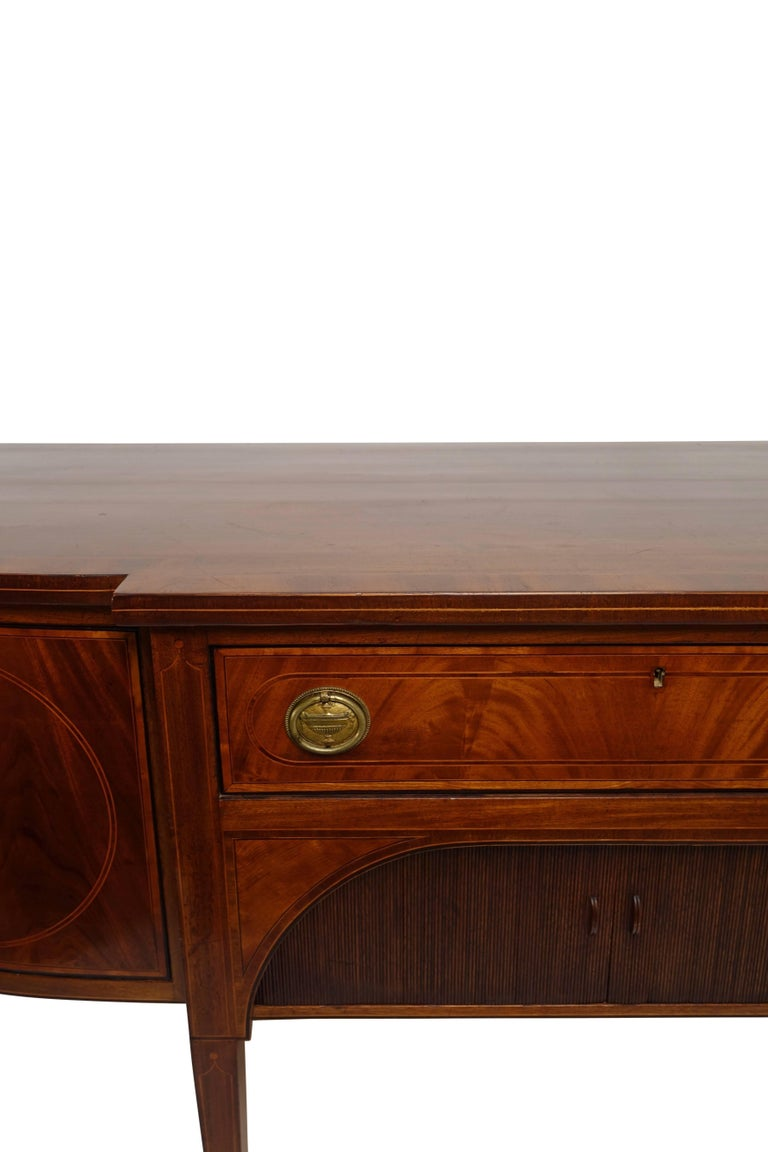 Sheraton Mahogany Sideboard with Satinwood Inlay, English Early 19th Century For Sale 4