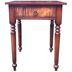 Sheraton Nightstand in Cherry with Tiger Maple Drawer, circa 1820
