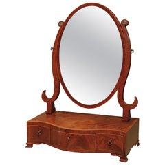 Sheraton Period Mahogany Oval Toilet Mirror