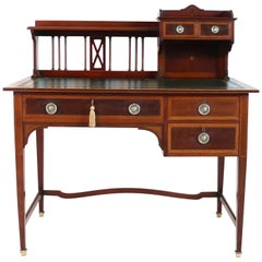 Sheraton Revival Mahogany and Inlaid Desk, Attributed to Shapland & Petter