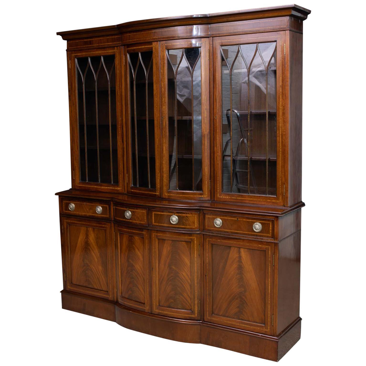 Sheraton Revival Mahogany Bookcase
