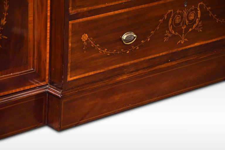 Sheraton Revival Mahogany Inlaid Breakfront Wardrobe For Sale 5