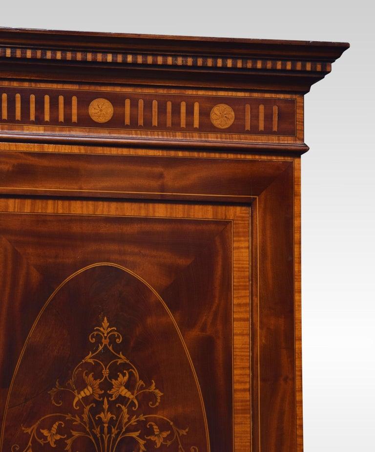 19th Century Sheraton Revival Mahogany Inlaid Breakfront Wardrobe For Sale