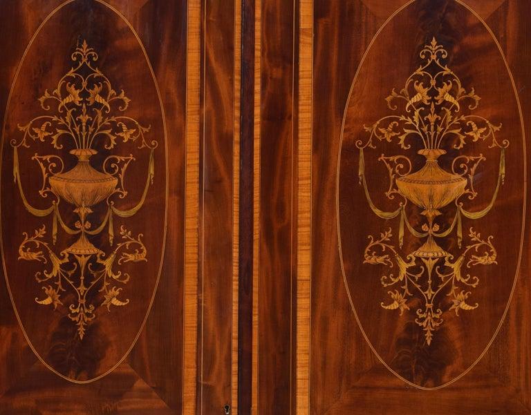 Sheraton Revival Mahogany Inlaid Breakfront Wardrobe For Sale 1