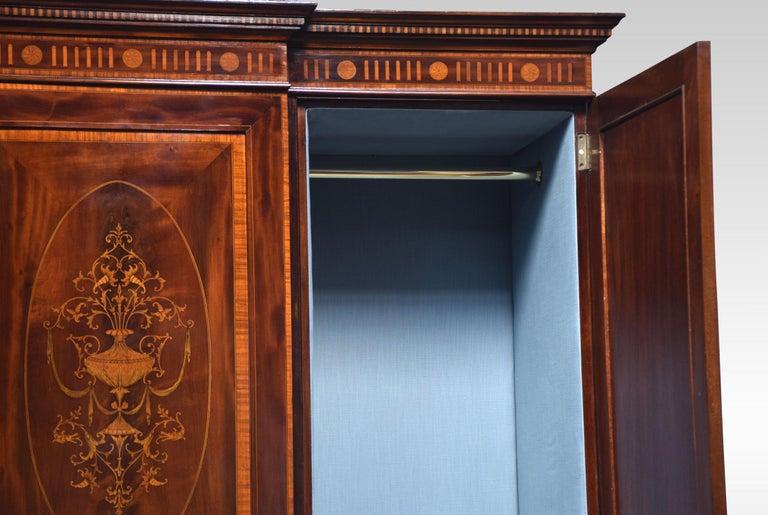 Sheraton Revival Mahogany Inlaid Breakfront Wardrobe For Sale 2