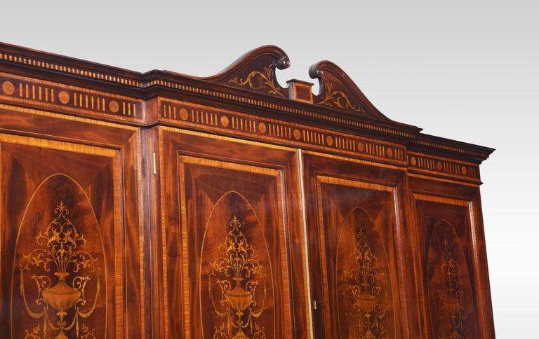 Sheraton Revival Mahogany Inlaid Breakfront Wardrobe For Sale 4