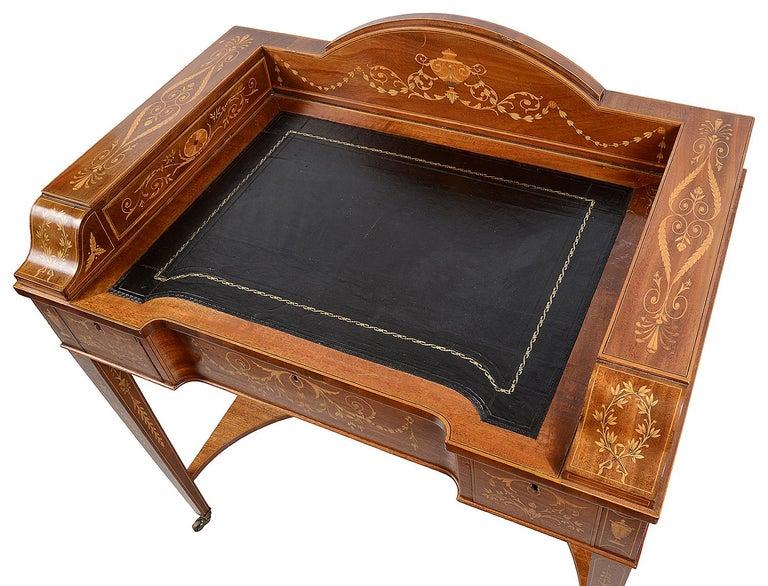 Sheraton Revival Mahogany Inlaid Ladies Desk, 19th Century For Sale 6