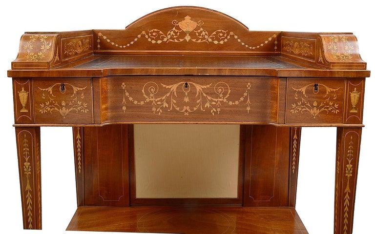Sheraton Revival Mahogany Inlaid Ladies Desk, 19th Century For Sale 7