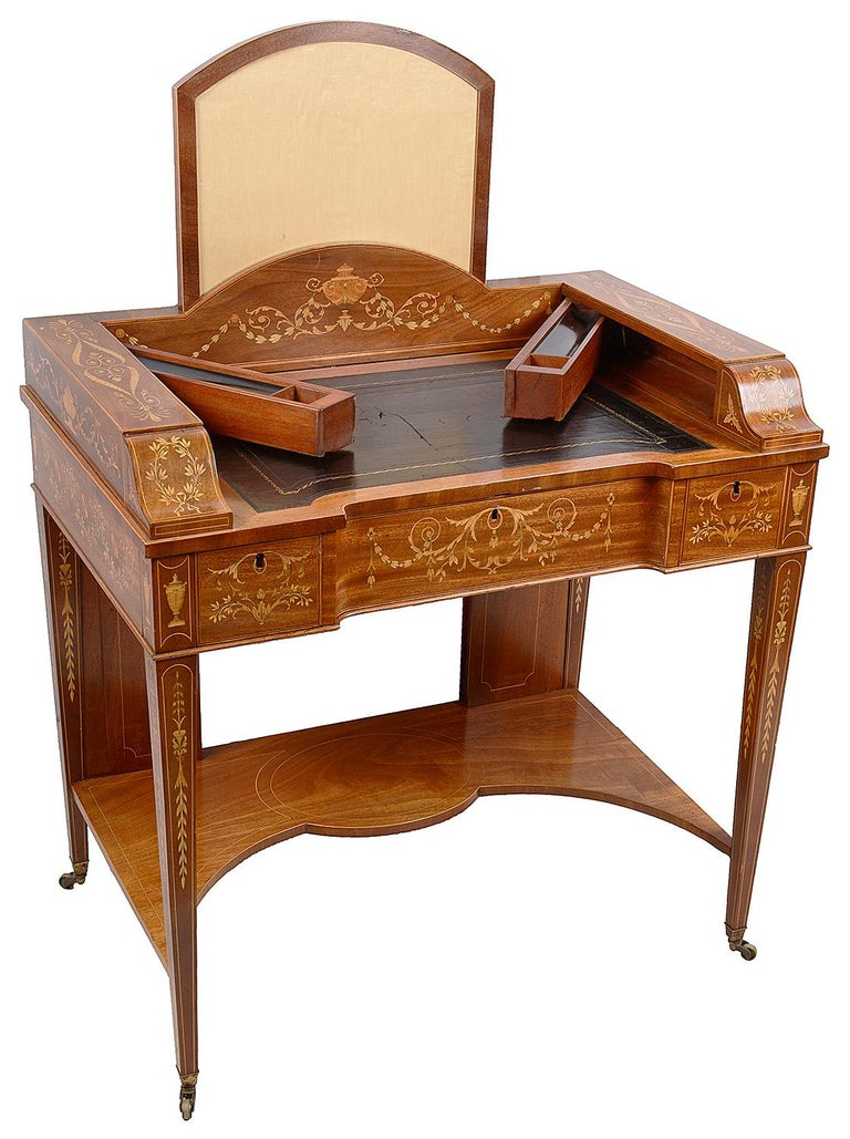 English Sheraton Revival Mahogany Inlaid Ladies Desk, 19th Century For Sale