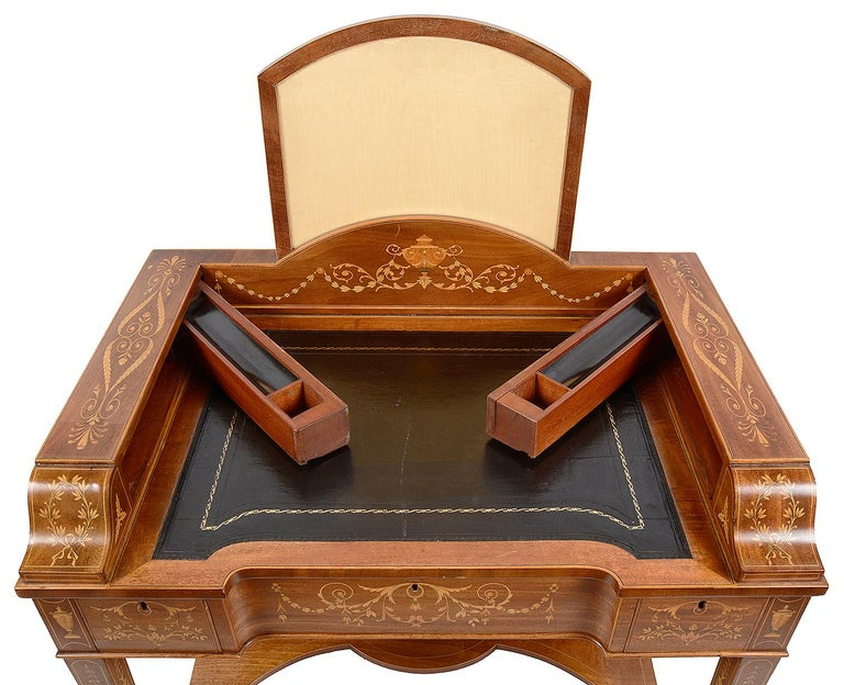 Inlay Sheraton Revival Mahogany Inlaid Ladies Desk, 19th Century For Sale