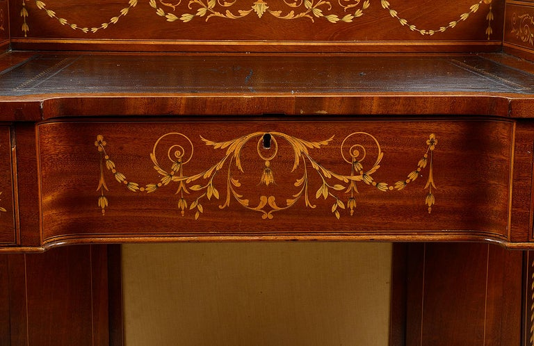 Sheraton Revival Mahogany Inlaid Ladies Desk, 19th Century For Sale 1