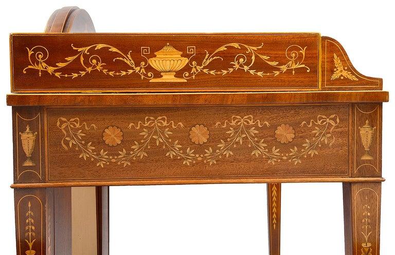 Sheraton Revival Mahogany Inlaid Ladies Desk, 19th Century For Sale 3