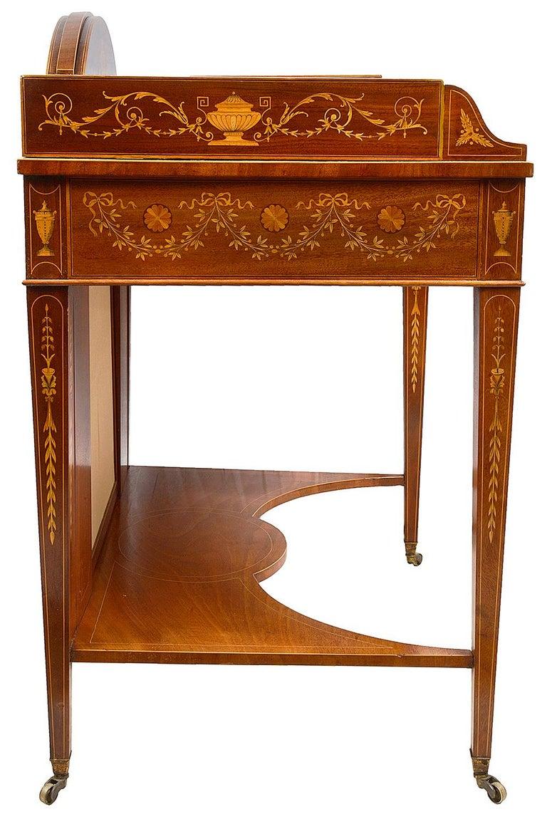 Sheraton Revival Mahogany Inlaid Ladies Desk, 19th Century For Sale 4