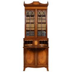 Sheraton Revival Mahogany Secretaire Bookcase