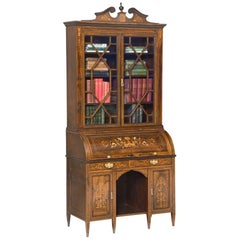 Sheraton Revival Rosewood Cylinder Bureau Bookcase