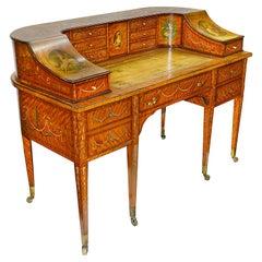 Sheraton Revival Satinwood Carlton House Desk, circa 1890