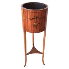 Sheraton Revival Satinwood Round Planter with Painted Decoration