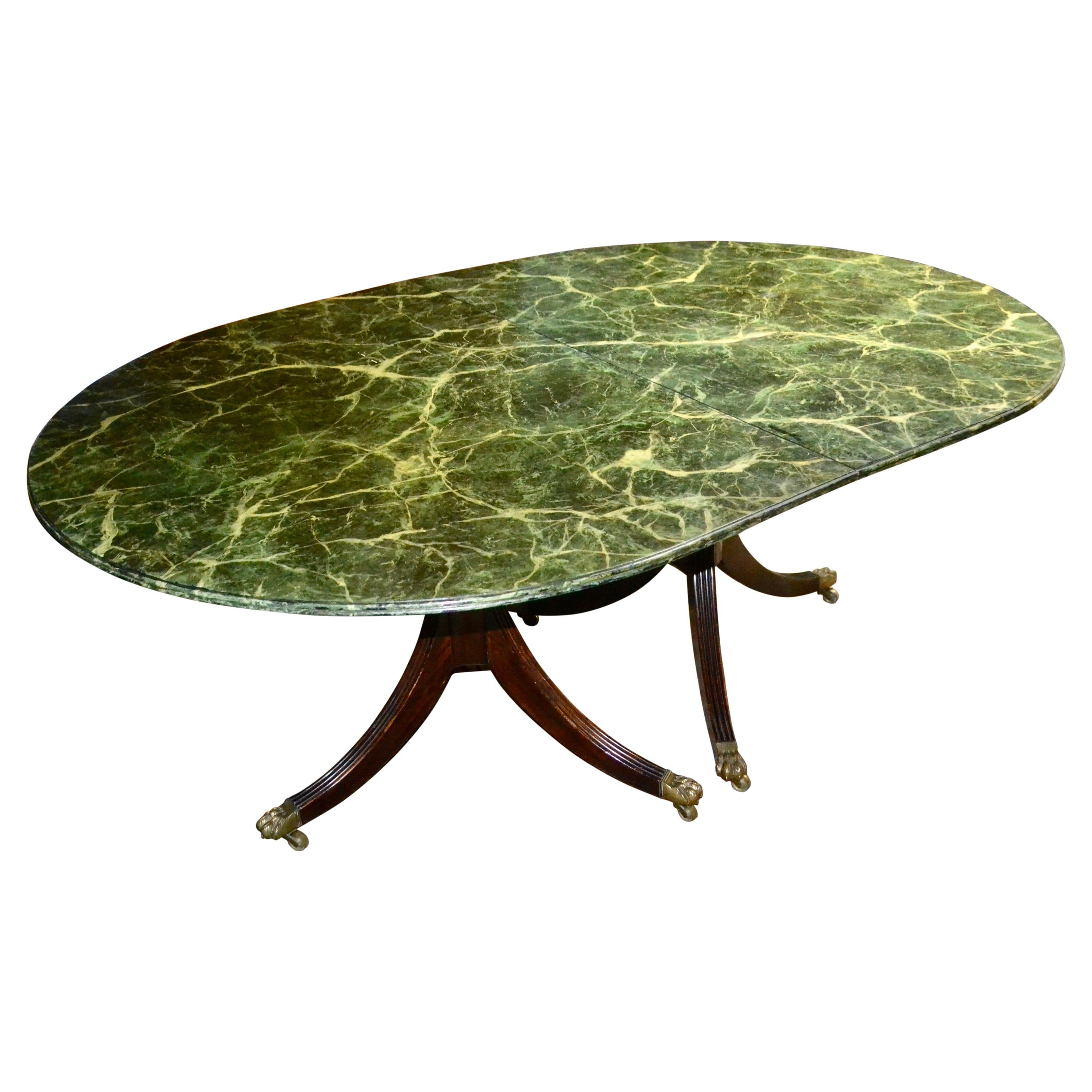 Sheraton Style Dining Table with Faux Marble Top