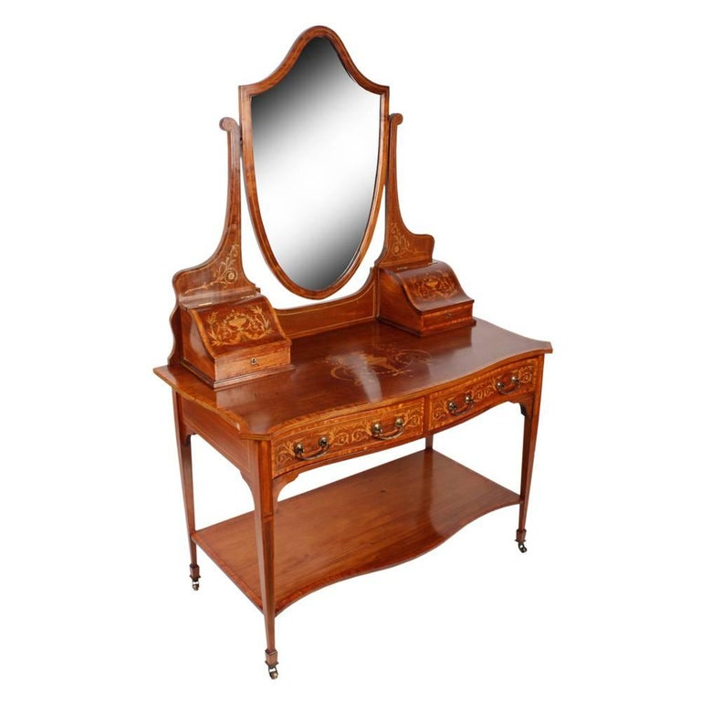 Sheraton Style Mahogany and Inlaid Dressing Table