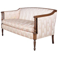 Sheraton Style Mahogany Camel Back Floral Upholstered Settee by Sloane