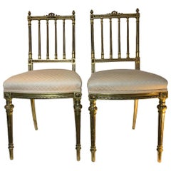 Sheraton Style Pair of Gilt Wood Parlor Chairs