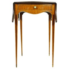 Sheraton Style, Satinwood and Flame Mahogany Serpentine Pembroke Table