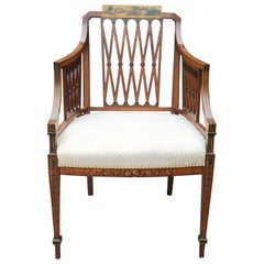 Sheraton Style Walnut Open Armchair with Hand Painted Decoration