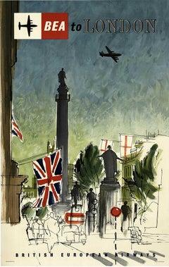 BEA to London - British European Airways original vintage travel poster