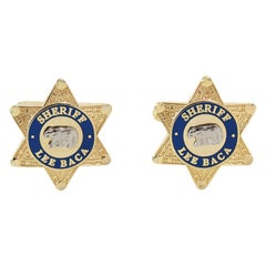 Sheriff LEE BACA Gold Tone Metal Star Cufflinks