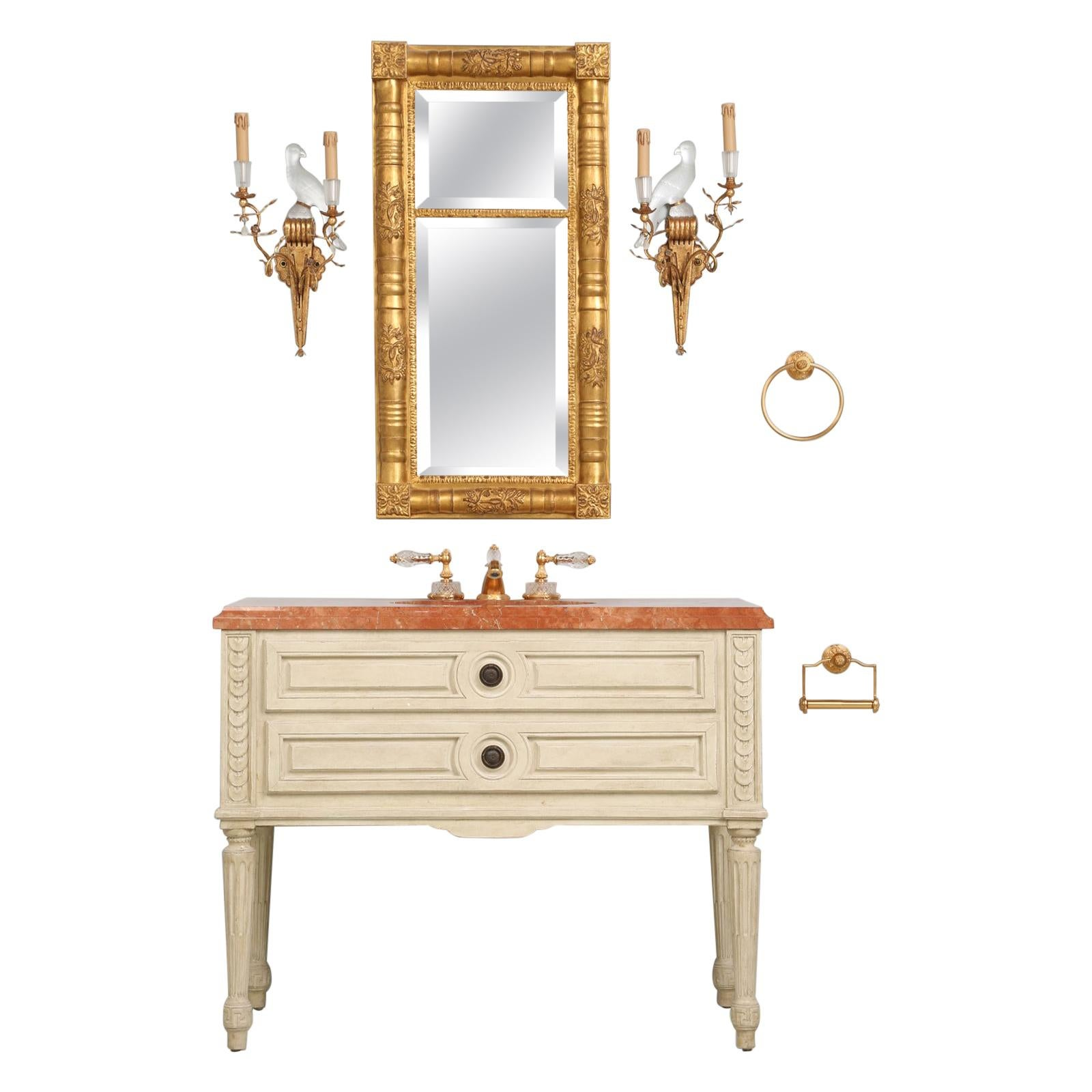 Sherle Wagner French Louis XVI Style Bathroom Vanity with all the Accessories