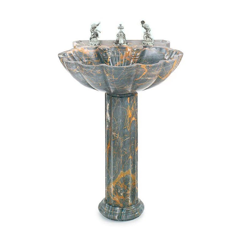European Sherle Wagner Marianella Marble Shell Pedestal Sink Grey & Amber Stone Sculpture For Sale