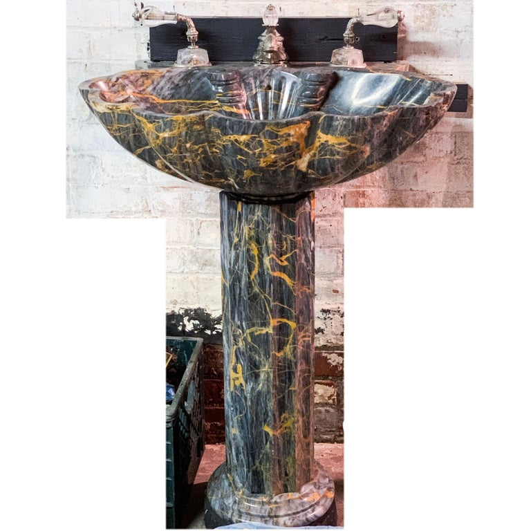 Hollywood Regency Sherle Wagner Marianella Marble Shell Pedestal Sink Grey & Amber Stone Sculpture For Sale
