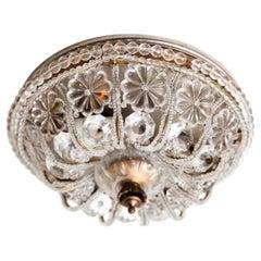 Sherle Wagner Natural Crystal Beaded Empire Flush Light Fixture, Flush Mount