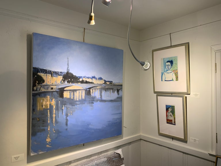Twilight on the City by Sherrie Russ Levine, Parisian Painting, Eiffel Tower For Sale 1