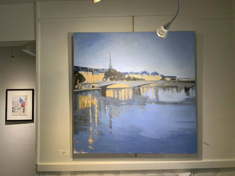 Twilight on the City by Sherrie Russ Levine, Parisian Painting, Eiffel Tower For Sale 2