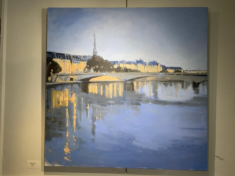 Twilight on the City by Sherrie Russ Levine, Parisian Painting, Eiffel Tower For Sale 4