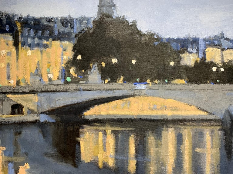 Twilight on the City by Sherrie Russ Levine, Parisian Painting, Eiffel Tower For Sale 6