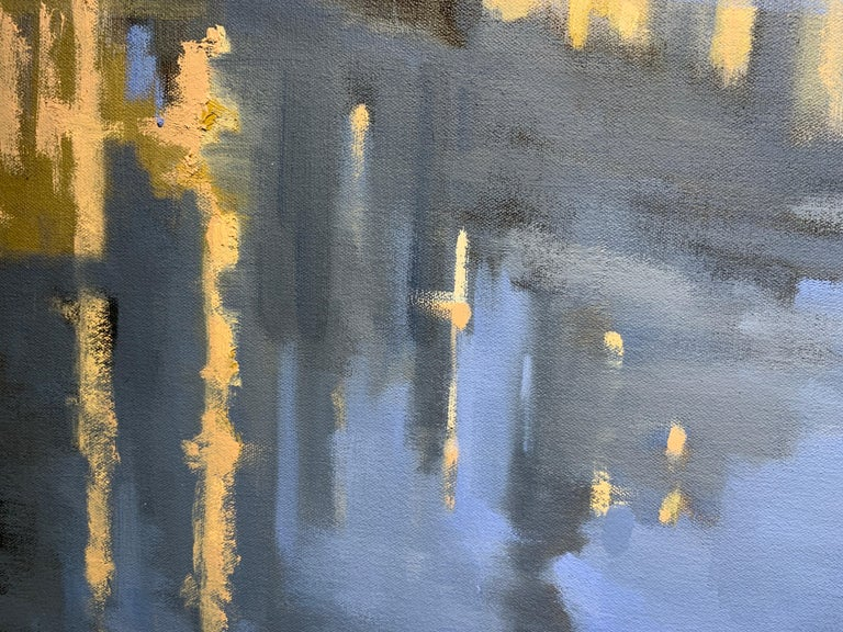 Twilight on the City by Sherrie Russ Levine, Parisian Painting, Eiffel Tower For Sale 7