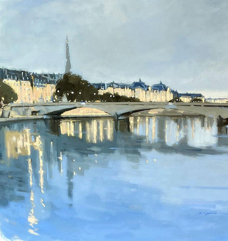 'Twilight on the City' was painted by American artist Sherrie Russ Levine in 2021.  It's a large, impressionist square cityscape painting of Paris.  The painterly and luminescent scene captures the beauty and energy of Paris  flawlessly.  We see the